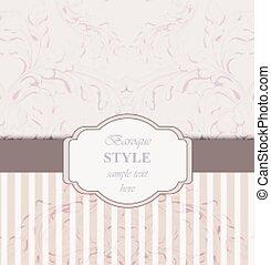 Vintage Invitation card Vector. Royal victorian pattern ornament. Rich baroque backgrounds. Primrose pink colors