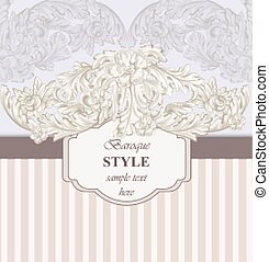 Vintage Invitation card Vector. Royal victorian pattern ornament. Rich baroque backgrounds. Primrose pink and lavender colors