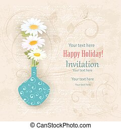 vintage invitation card with a vase of daisies on a old paper fo