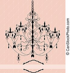 Vintage invitation card with chandelier