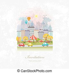 vintage invitation card with cute autumn cityscape