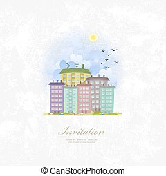 vintage invitation card with cute city