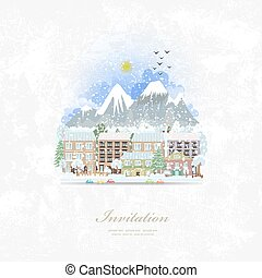 vintage invitation card with cute cityscape. winter travel