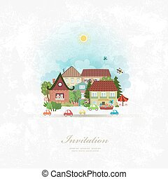 vintage invitation card with cute village landscape