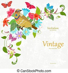 vintage invitation card with fancy bird. template design