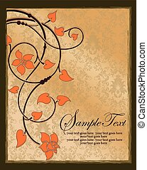 Vintage invitation card with floral background