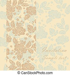 Vintage invitation card with floral ornament