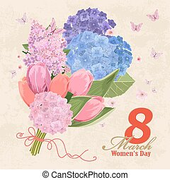 vintage invitation card with flowers bouquet. Women`s day. 8...