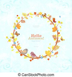 vintage invitation card with graceful autumn wreath and birds fo