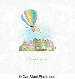 vintage invitation card with hot air balloon over the city with