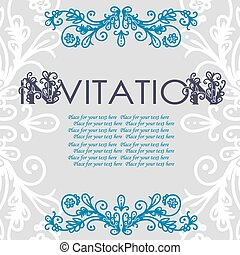 Vintage invitation card with lace ornament.