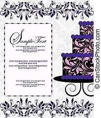 Vintage invitation card with ornate elegant abstract floral design