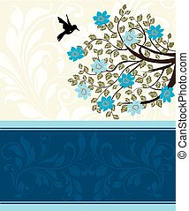 Vintage invitation card with ornate elegant abstract floral tree design, blue flowers on pale yellow with bird. Vector illustration.