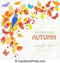 vintage invitation card with pretty bird. autumn background