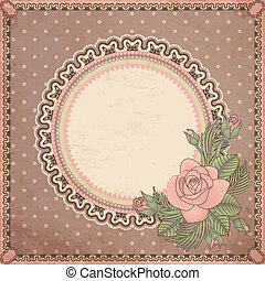 Vintage invitation card with rose,