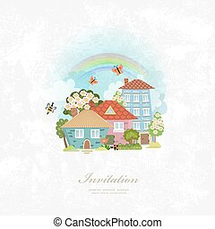 vintage invitation card with town scenery