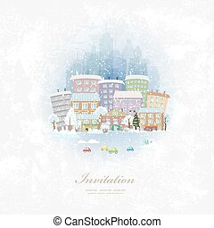 vintage invitation card with winter city scenery