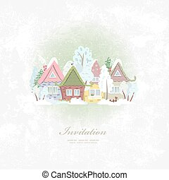 vintage invitation card with winter rural scenery