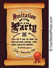 Vintage Invitation On Parchment