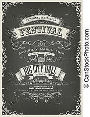Vintage Invitation Poster On Chalkboard - Illustration of a...