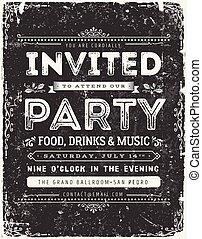 Vintage Invitation Sign On Chalkboard