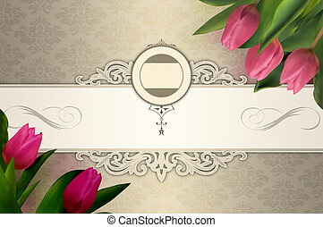 Vintage invitation template Elegant background with clipart