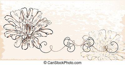 Vintage invitation with flowers.
