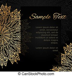 Vintage invitation with lace pattern. Oriental design card template.