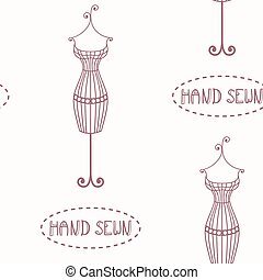 Vintage iron mannequin seamless pattern with inscription hand sewn