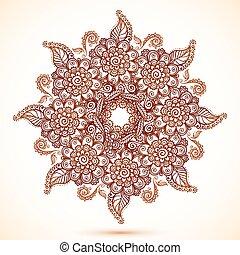 Vintage isolated mandala in Indian mehndi style - vintage...