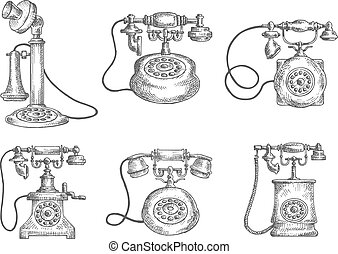 Vintage isolated rotary dial telephones sketches