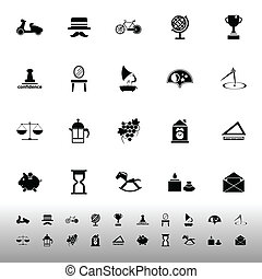 Vintage item icons on white background