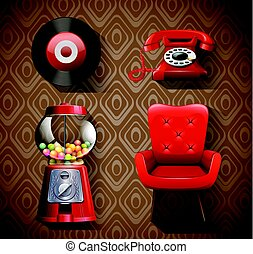 Vintage items in red color
