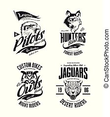 Vintage jaguar, wolf, eagle and owl bikers club t-shirt vector isolated logo set.