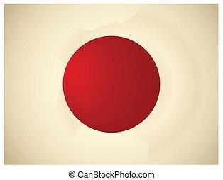 Vintage Japan Flag. Vector illustration.