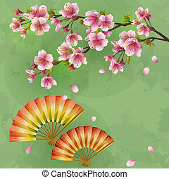 Japanese background with sakura - Japanese cherry tree and fans. Vintage or grunge style. Place for text. Vector illustration