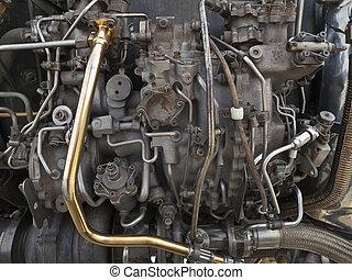 Vintage Jet Engine Detail - Vintage jet engine mechanical...