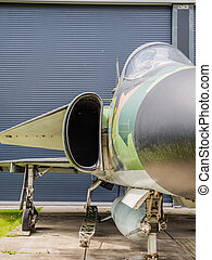 Vintage jet fighter - Front view of a Saab Viggen jet...