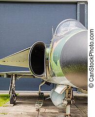 Vintage jet fighter - Front view of a Saab Viggen jet...