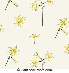 Vintage jonquil flower pattern vector design resource
