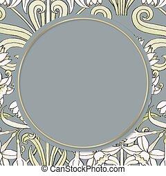 Vintage jonquil flower vector frame design element
