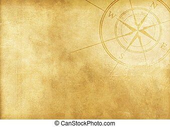 Vintage Journey Background with Compass Rose. Aged Paper...