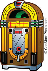 Vintage Jukebox - Cartoon Illustration of a Vintage Antique...