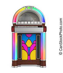 Vintage Jukebox Radio isolated on white background. 3D...