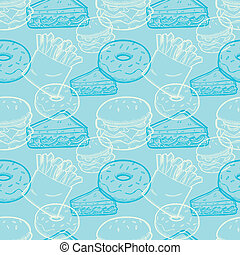 vintage junk food seamless pattern