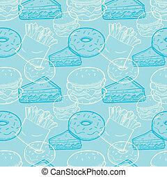 vintage junk food seamless pattern