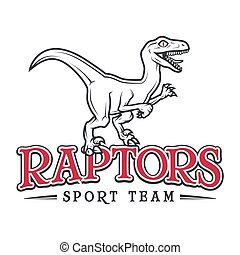 Vintage Jurassic raptor Logo. Dino sport mascot insignia badge design. College Team t-shirt illustration concept isolated on white background.