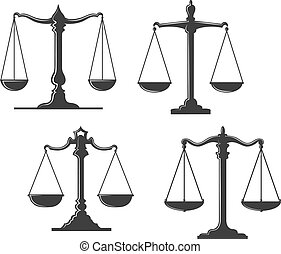 Vintage and retro justice scales isolated on white background