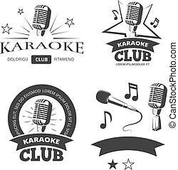 Vintage karaoke vocal party vector labels badges emblems logos