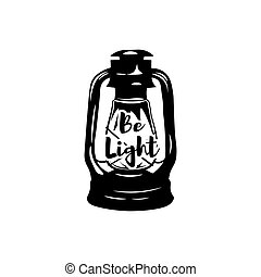 Vintage kerosene lamp. Retro lantern. Be light. Vector illustration isolated on white background